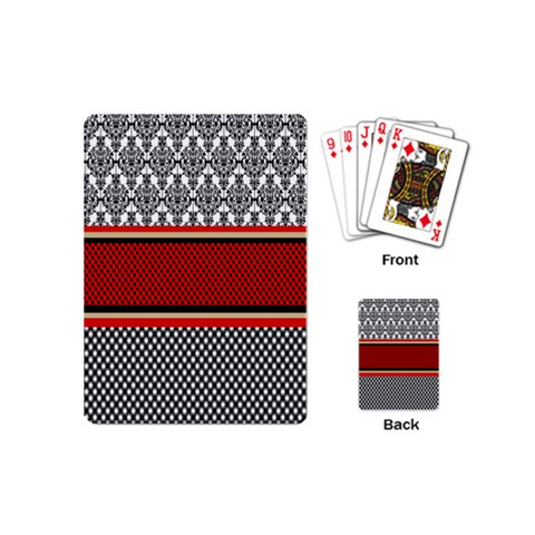 Background Damask Red Black Playing Cards (Mini)