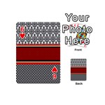 Background Damask Red Black Playing Cards 54 (Mini)  Front - Heart6