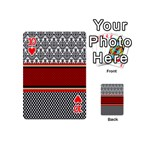 Background Damask Red Black Playing Cards 54 (Mini)  Front - Heart10