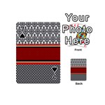 Background Damask Red Black Playing Cards 54 (Mini)  Front - Spade7