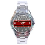 Background Damask Red Black Stainless Steel Analogue Watch Front