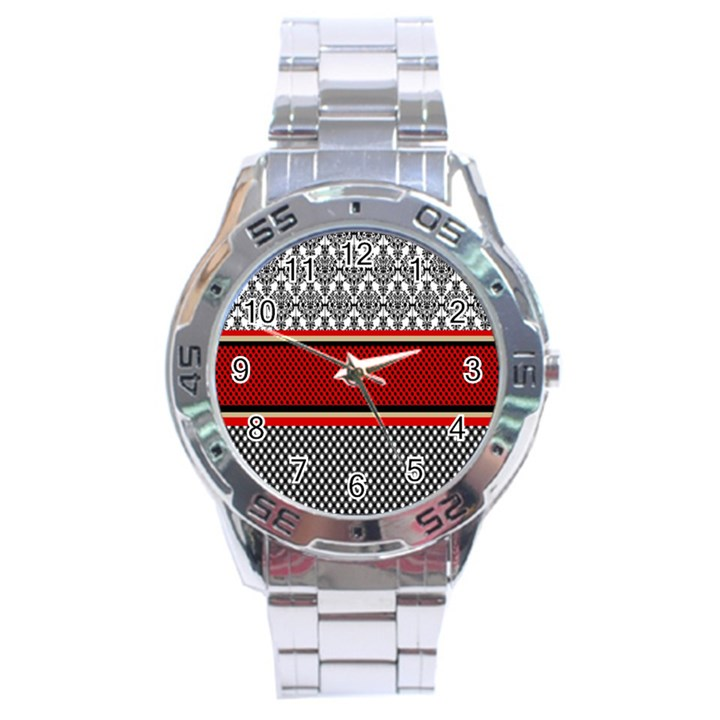 Background Damask Red Black Stainless Steel Analogue Watch