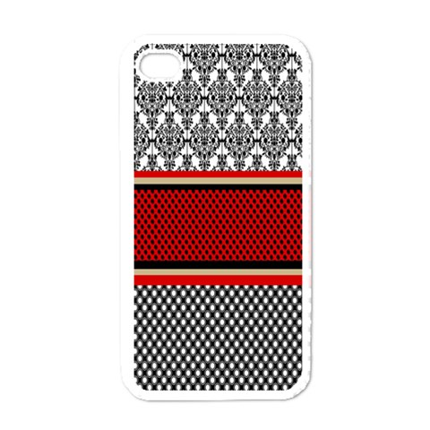 Background Damask Red Black Apple iPhone 4 Case (White)
