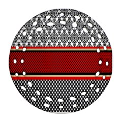 Background Damask Red Black Round Filigree Ornament (2Side)