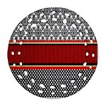 Background Damask Red Black Round Filigree Ornament (2Side) Back