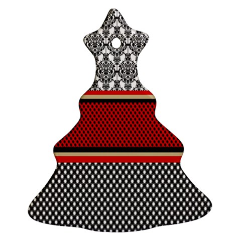 Background Damask Red Black Christmas Tree Ornament (2 Sides)