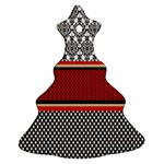 Background Damask Red Black Christmas Tree Ornament (2 Sides) Front
