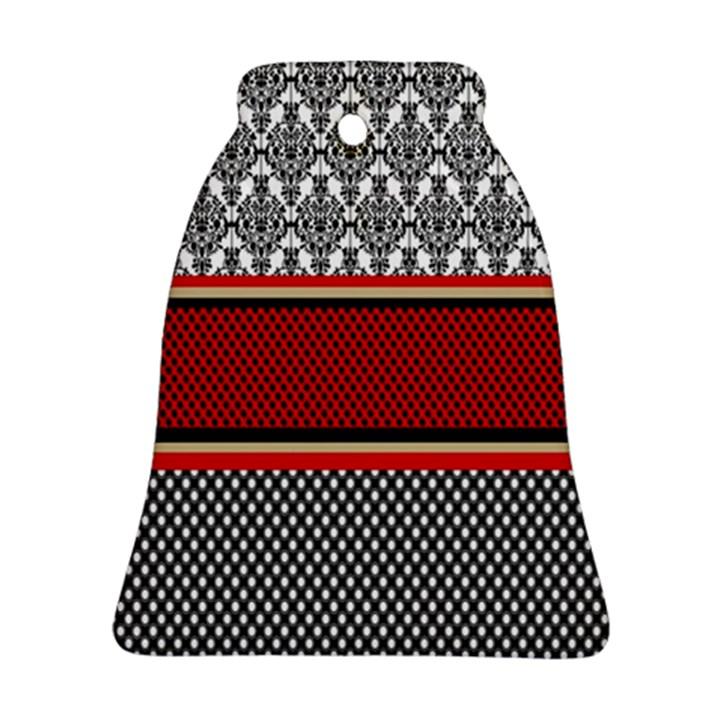 Background Damask Red Black Bell Ornament (2 Sides)