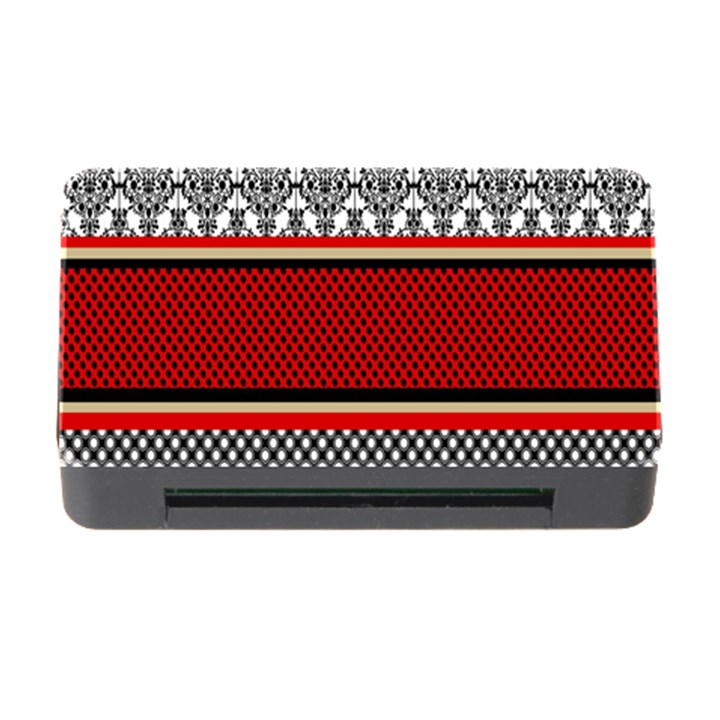 Background Damask Red Black Memory Card Reader with CF
