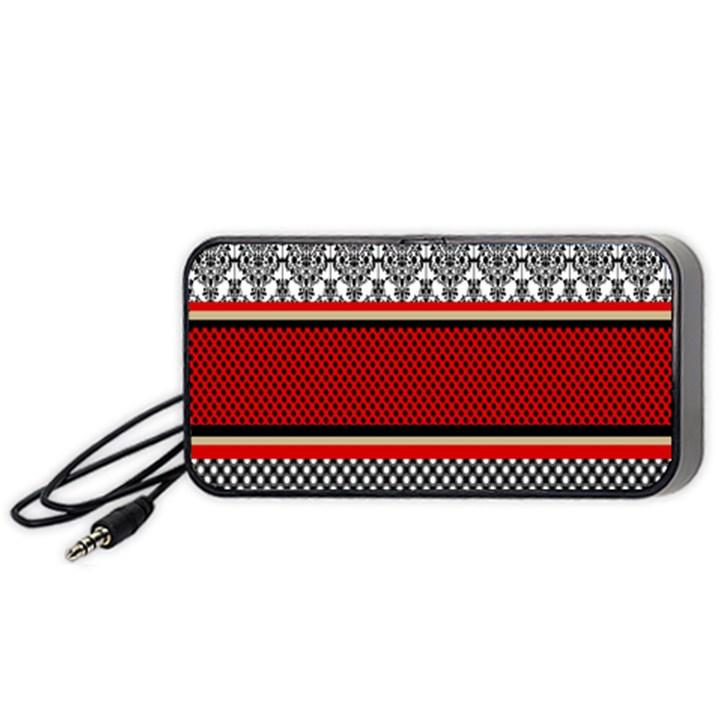 Background Damask Red Black Portable Speaker (Black)