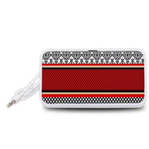 Background Damask Red Black Portable Speaker (White)