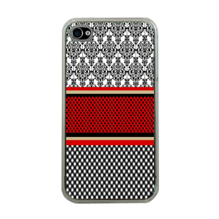 Background Damask Red Black Apple iPhone 4 Case (Clear)