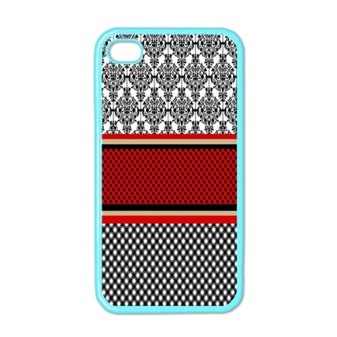 Background Damask Red Black Apple iPhone 4 Case (Color)