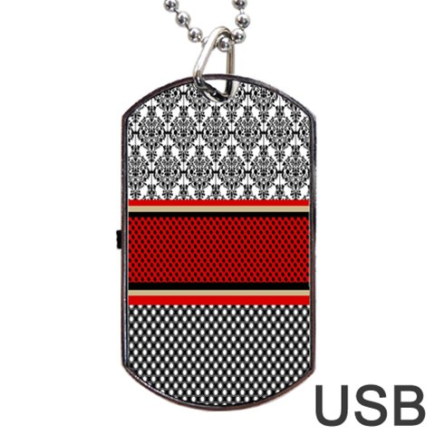Background Damask Red Black Dog Tag USB Flash (Two Sides)