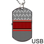 Background Damask Red Black Dog Tag USB Flash (Two Sides)  Front