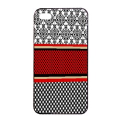 Background Damask Red Black Apple iPhone 4/4s Seamless Case (Black)