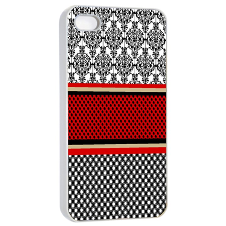 Background Damask Red Black Apple iPhone 4/4s Seamless Case (White)