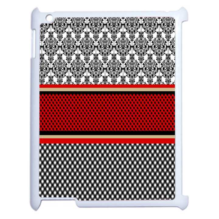 Background Damask Red Black Apple iPad 2 Case (White)