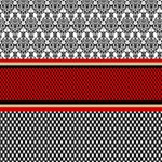 Background Damask Red Black Best Wish 3D Greeting Card (8x4) Inside