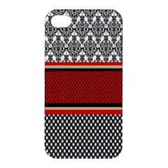 Background Damask Red Black Apple iPhone 4/4S Hardshell Case