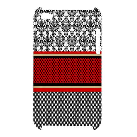 Background Damask Red Black Apple iPod Touch 4
