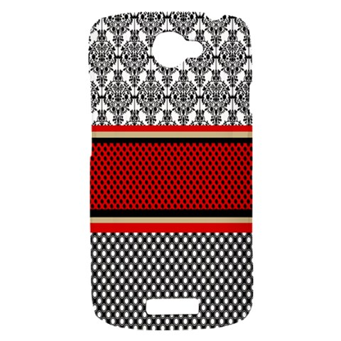 Background Damask Red Black HTC One S Hardshell Case