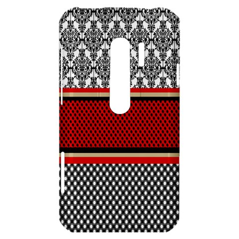 Background Damask Red Black HTC Evo 3D Hardshell Case