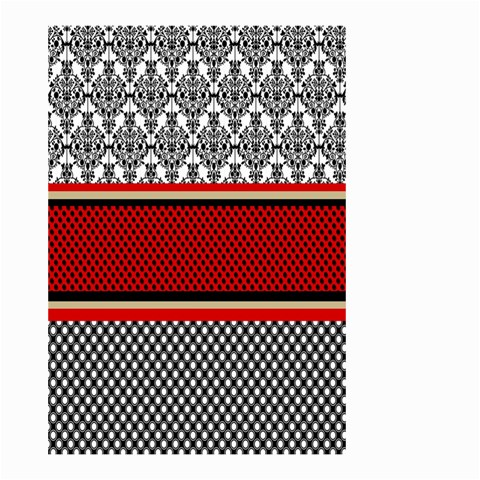 Background Damask Red Black Small Garden Flag (Two Sides)
