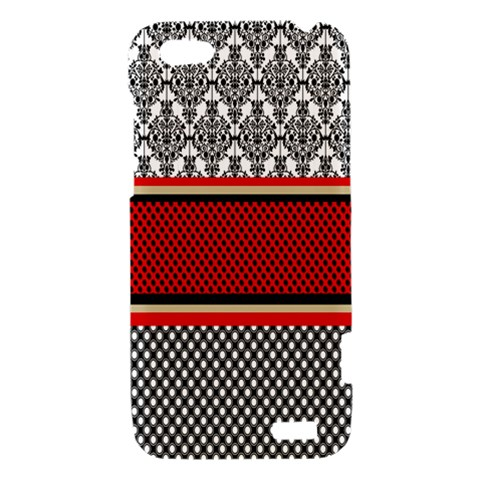 Background Damask Red Black HTC One V Hardshell Case