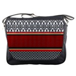 Background Damask Red Black Messenger Bags Front