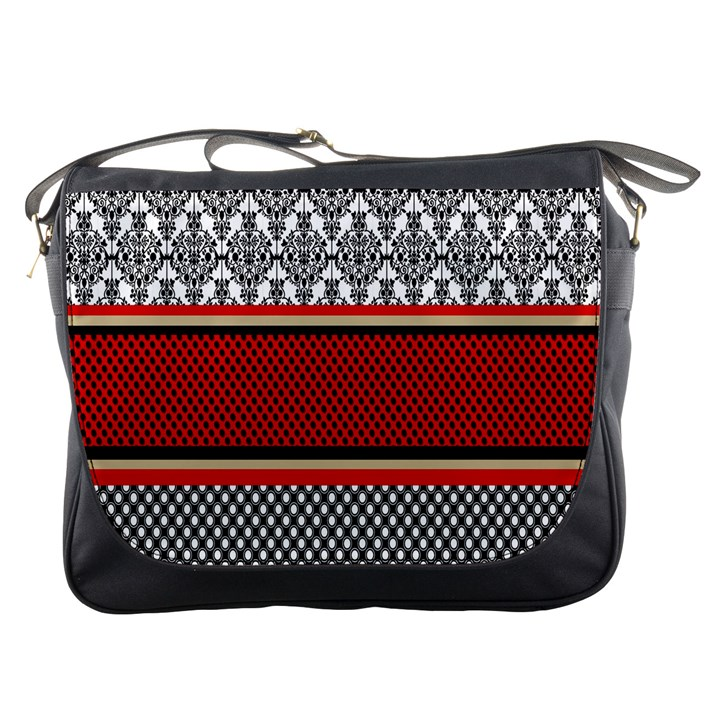 Background Damask Red Black Messenger Bags