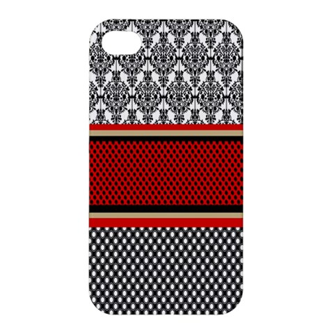 Background Damask Red Black Apple iPhone 4/4S Premium Hardshell Case