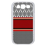 Background Damask Red Black Samsung Galaxy S III Case (White) Front