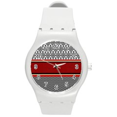 Background Damask Red Black Round Plastic Sport Watch (M)