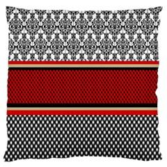 Background Damask Red Black Large Cushion Case (One Side)
