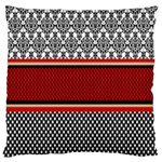 Background Damask Red Black Large Cushion Case (Two Sides) Front