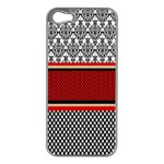 Background Damask Red Black Apple iPhone 5 Case (Silver) Front