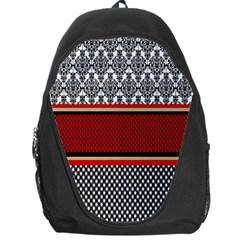 Background Damask Red Black Backpack Bag
