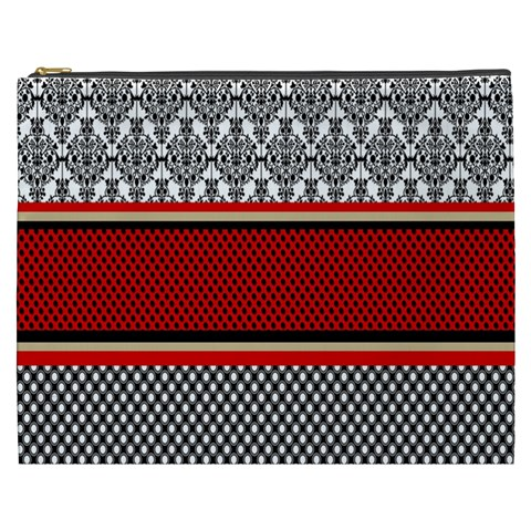 Background Damask Red Black Cosmetic Bag (XXXL)