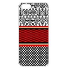 Background Damask Red Black Apple iPhone 5 Seamless Case (White)