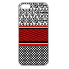 Background Damask Red Black Apple Seamless iPhone 5 Case (Clear)