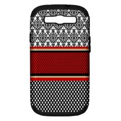 Background Damask Red Black Samsung Galaxy S III Hardshell Case (PC+Silicone)