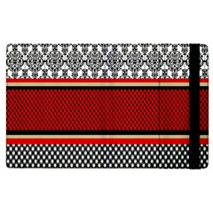 Background Damask Red Black Apple iPad 3/4 Flip Case