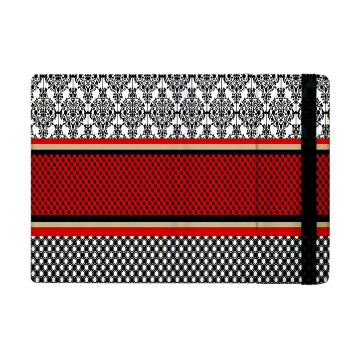 Background Damask Red Black Apple iPad Mini Flip Case