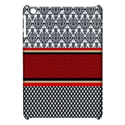 Background Damask Red Black Apple iPad Mini Hardshell Case