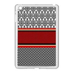Background Damask Red Black Apple iPad Mini Case (White)