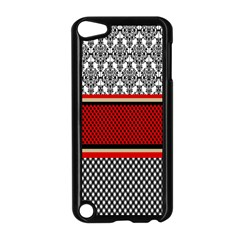 Background Damask Red Black Apple iPod Touch 5 Case (Black)