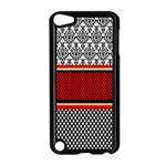 Background Damask Red Black Apple iPod Touch 5 Case (Black) Front