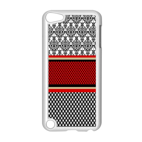 Background Damask Red Black Apple iPod Touch 5 Case (White)