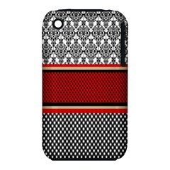 Background Damask Red Black Apple iPhone 3G/3GS Hardshell Case (PC+Silicone)